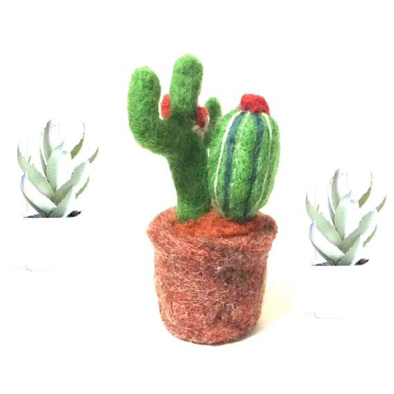 Hand Felted Cactus Plants - Flowering Cactus Plants - Friendship Gift - Housewarming Gift - Artificial Plant - Indoor Plant Lover Gift