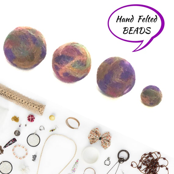Round Copper Felted Wool Beads - Copper Beads for Bespoke Designs - Stunning  Hand Felted Wool Beads -  Felted Balls for Craft Jewellery