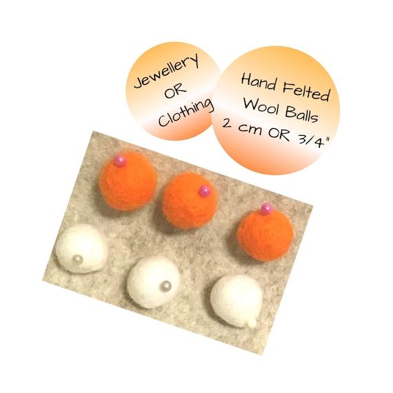 Hand Felted Wool Balls - Orange Wool Balls for Bespoke Designs - Felt Balls for Craft Supplies - Bespoke Craft Gift