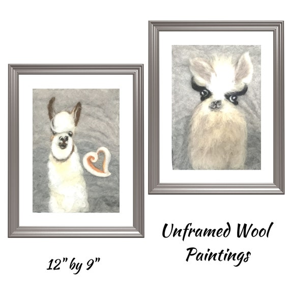 Llama Paintings - 3D Merino Wool Pictures - Llama Wall Decor - Needle Felted Art - Unframed Fibre Art Paintings - Original Art Gift