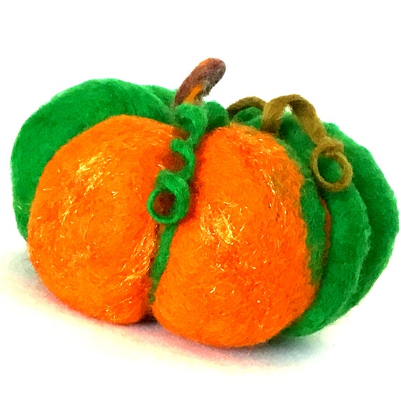 Felted Wool Sculpture - Green Pumpkin Table Decor - Housewarming Gift - Fruit Bowl Decor - Multi Coloured Wool Pumpkin - Hostess Gift