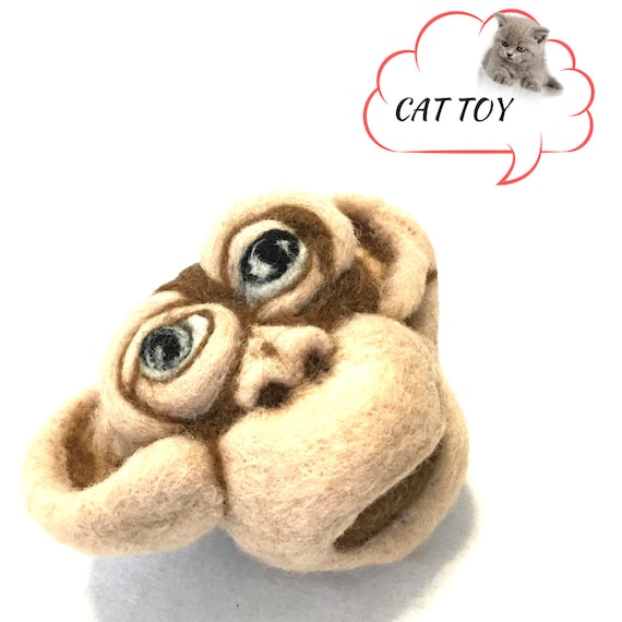 Monkeys Head Felted Cat Toy - Brown Catnip Cat Toy -  Needle Felted Cat Toy - Quality Cat Toy - Cat Things - Unique Cat lovers Gift
