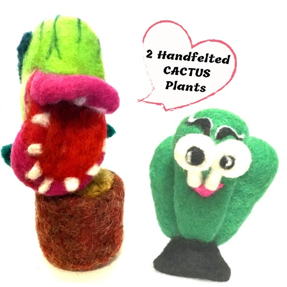Needle Felted Cactus - 2 Unique Wool Sculptures - Carnivorous Felt Plant - Goggle Eyed Cactus - Housewarming Gift - Large Unique Cactus Gift