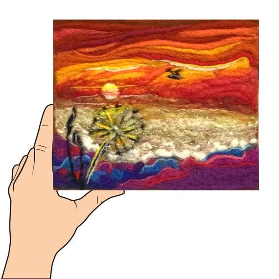 Sunset Wool Painting - Red Felted Fibre Art - Brilliant Coloured Sunset - Unframed Art Piece - Original Art - Gift for Him