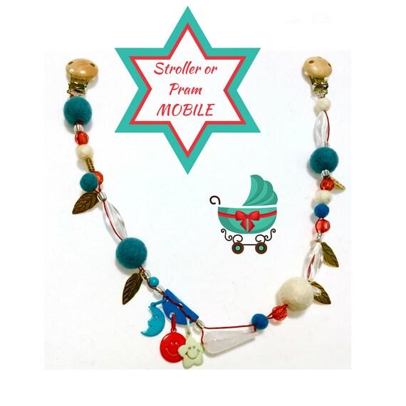 Beaded Felt Ball Mobile for Stroller - Newborn Gift - Stroller Bling - Baby Shower Gift - Beaded Pram Mobile - Genuine BARGAIN