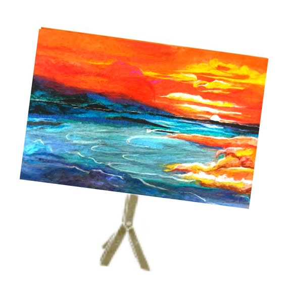 Seascape Wool Painting - Blue Felt Picture - Large Felted Wall Art - Colourful Wall Decor - Unframed Fibre Art Painting - Art Lover Gift