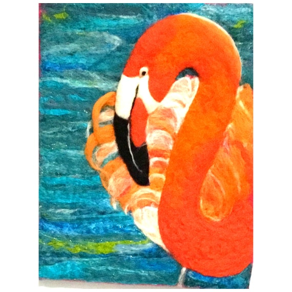 Flamingo Wool Painting - Stunning Wall Decor - Hand Felted Wall Art - Needle Felted Wool Picture - Unframed Art Gift - Art Lover Gift