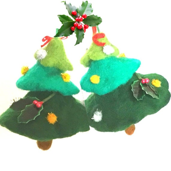Hand Felted Xmas Decor - 2 Mini Xmas Trees - Unique Xmas Gift - Festive Hostess Gift - Handmade Friendship Gift - Hanging Xmas Tree Ornament