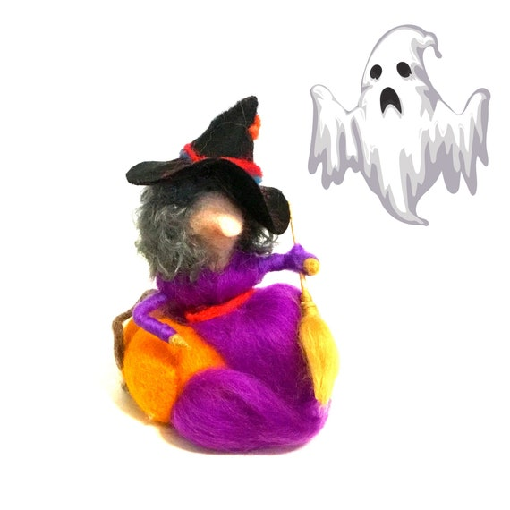 Halloween Decor - Purple Witch sitting on an Orange Pumpkin - Hostess Party Gift - Cute Table Ornament - Felt Witch with Broomstick