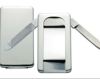 Engraved Stainless Steel Money Clip with knife and file and free shipping