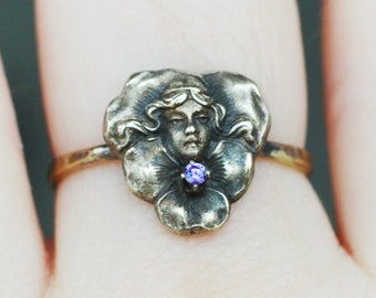 Pansy Muse Gemstone ring, CUSTOM size Art Nouveau replica, girl's face, pansy, flower, claw set garnet or coloured cz - choose!