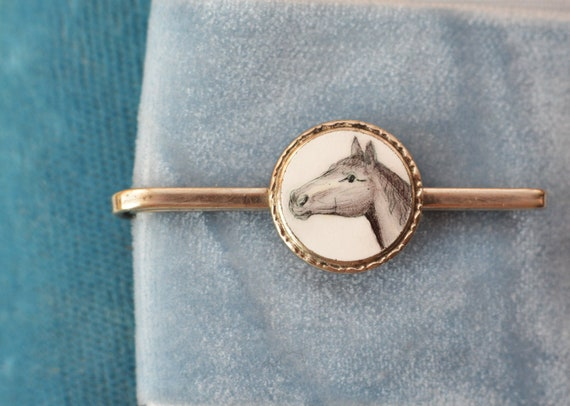 scarf ornament or for conversion VINTAGE Enamel Horse Pin black and white money clip coat pin Tie pin rare boho