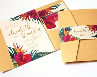 faire part de mariage tropical fleurs tropicales destination etsy. Black Bedroom Furniture Sets. Home Design Ideas