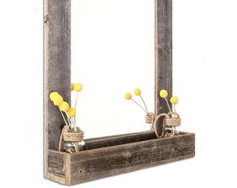 BarnwoodUSA | Farmhouse Beveled Edge Mirror With Shelf - 100% Reclaimed Wood