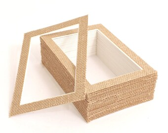 BarnwoodUSA | Burlap Pack of 25 Picture Framing Mattes with White Core Bevel Cut | 4x6 or 5x7 Opening Available