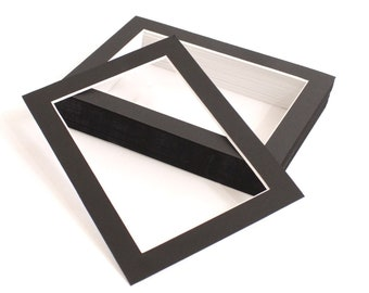 BarnwoodUSA | Black Pack of 25 Picture Framing Mattes with White Core Bevel Cut | 4x6 or 5x7 Opening Available