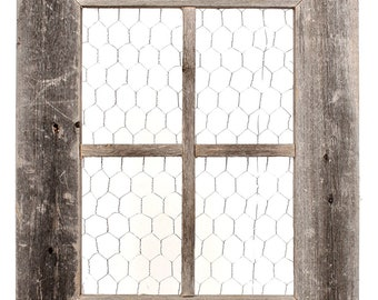 BarnwoodUSA | Chicken Wire Photo or Message Board, Jewelry Organizer - 10 Clothes Pins Included - 100% Reclaimed Wood Frame (22 x 18 Window)