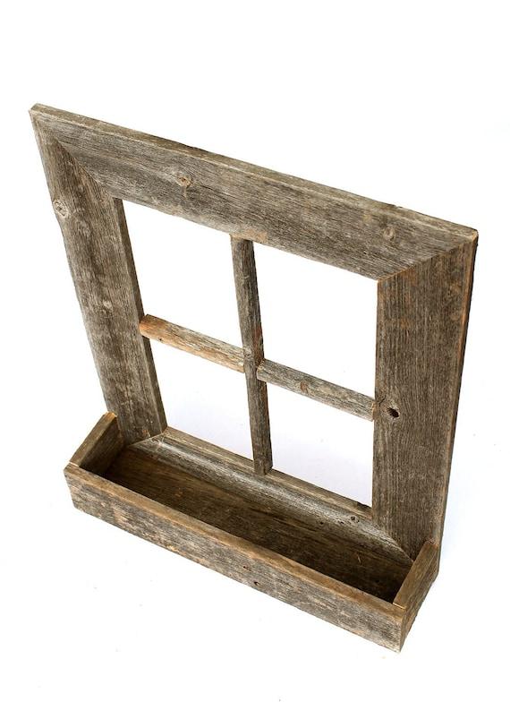BarnwoodUSA Rustic Wooden Window Planter Box Weathered Gray Wood Planter Stand