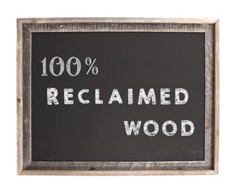 Framed Chalkboard Sign, Chalkboard Sign - Rustic, Reclaimed Wood Frame