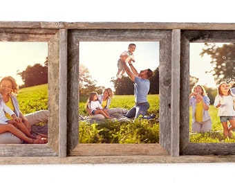 BarnwoodUSA Signature 3 Collage Photo Frame - 100%  Genuine Reclaimed Wood
