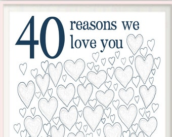 40th Birthday Gift for Man - 40th Birthday Gifts For Husband, For Him, Men, For Dad, PRINTABLES, Party Decorations, Guest Book, DOWNLOAD