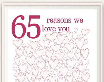 65th Birthday Gift For Women PRINTABLES Mom Posters Decorations Wedding Anniversary Alternative Guest Book 65 Years Old