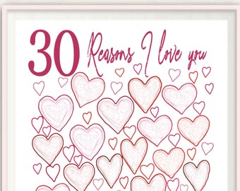 30th Birthday Print - Unique 30th Birthday Gift Idea, 30th Birthday For Her, 30th Birthday Present, For Wife, For Girlfriend, PRINTABLE DIY