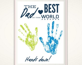Gift For Dad Personalized Fathers Day From Kids INSTANT Download Printable Birthday DIY Handprint Art