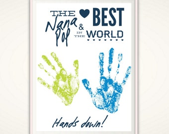 Nana & Pop Gifts - Best Nana and Pop Gift from Kids - Personalized Nana Handprint Art Printable Poster INSTANT Download PDF Print