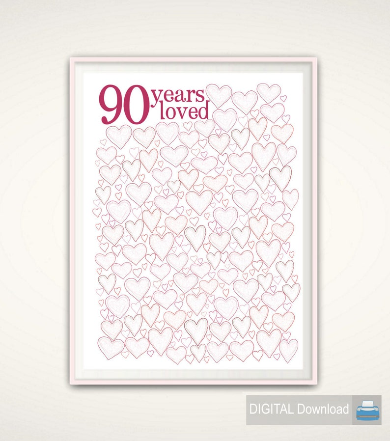 90th Birthday Gift Decorations Guest Book
