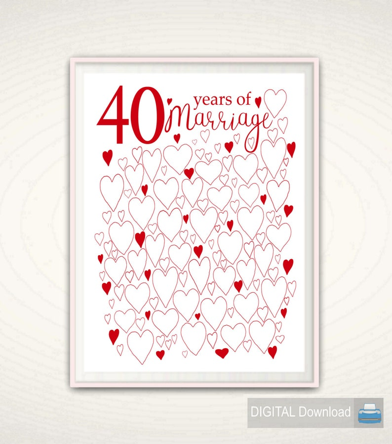 40th Wedding Anniversary.40 Years Of Marriage Ruby 40th Wedding Anniversary Gift For Parents For Couple Printables Party Decorations Guest Book Download