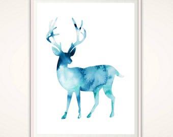 Stag Print - Deer Print, Deer PRINTABLE, Blue Watercolor Stag, Deer Decor, Nursery Deer, Nursery Poster, Nursery Wall Art, Deer Art Print