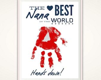 Nana Gifts - Christmas Gifts for Nana, Nana Birthday Gift from Kids, PRINTABLE , Personalized Nana Handprint Art, Sign, From Grandkids