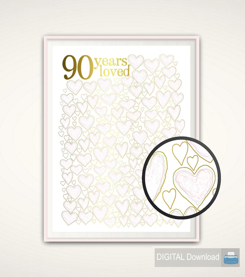 90 Years Loved PRINTABLE 90th Birthday Gift 90th Birthday
