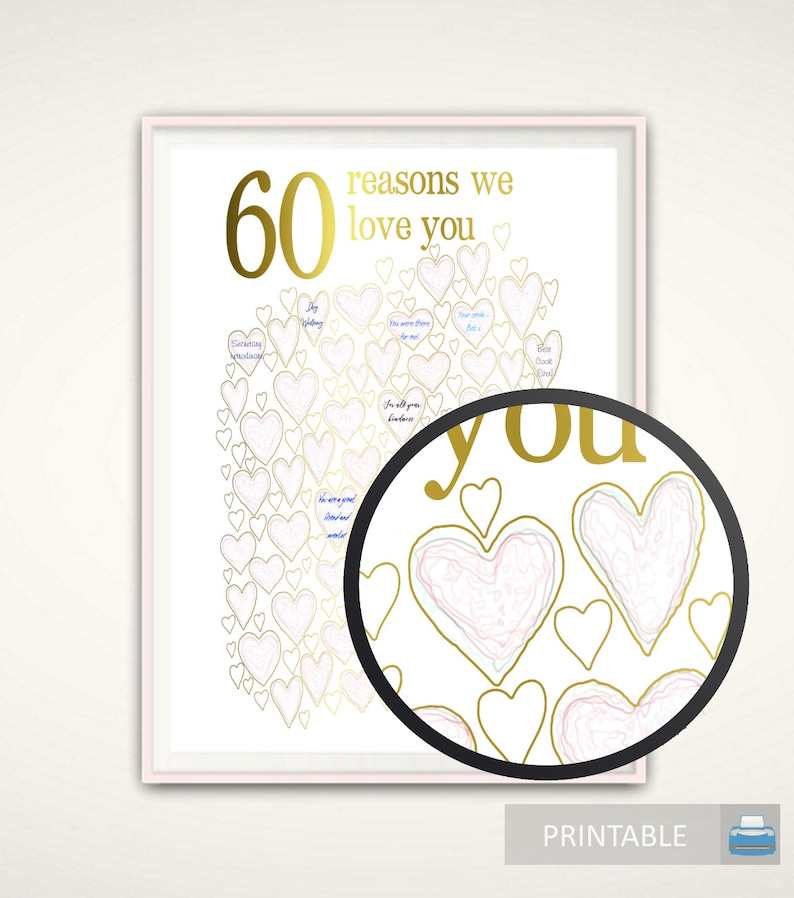 60th Birthday Gift For Mom PRINTABLE Gold And PINK