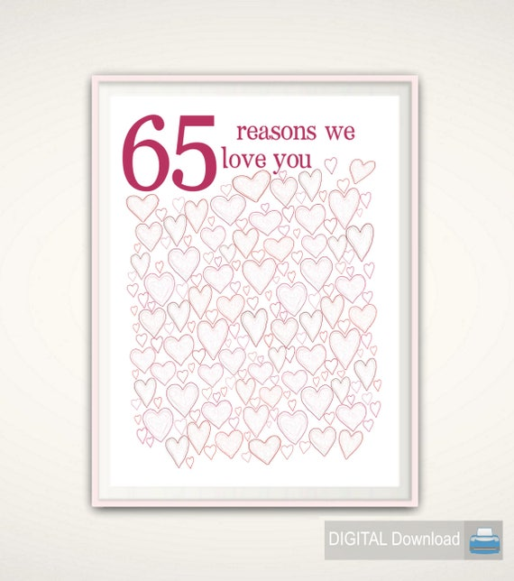 65th Birthday Gift For Women PRINTABLES Mom