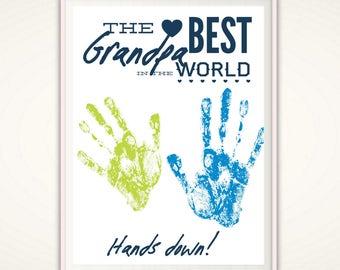 Grandpa Gifts - Christmas Grandpa Gift from Grandkids, PRINTABLE Handprint Art, Gift for Grandpa, DIY Handprint Art, Grandad Birthday Gift