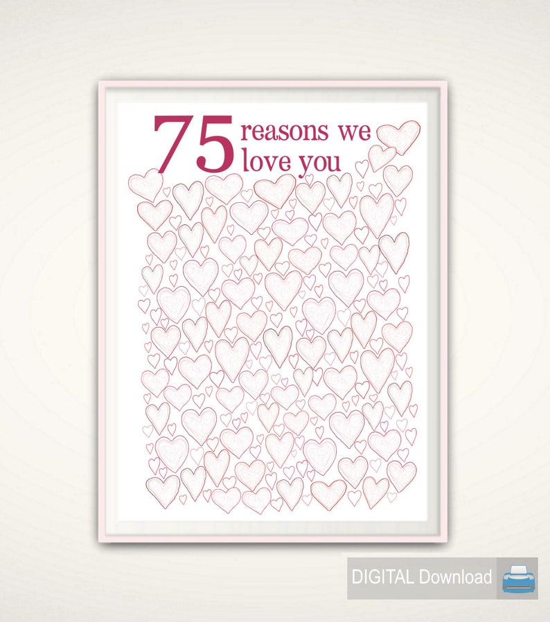 75th Birthday Gift For Mom Poster PRINTABLE