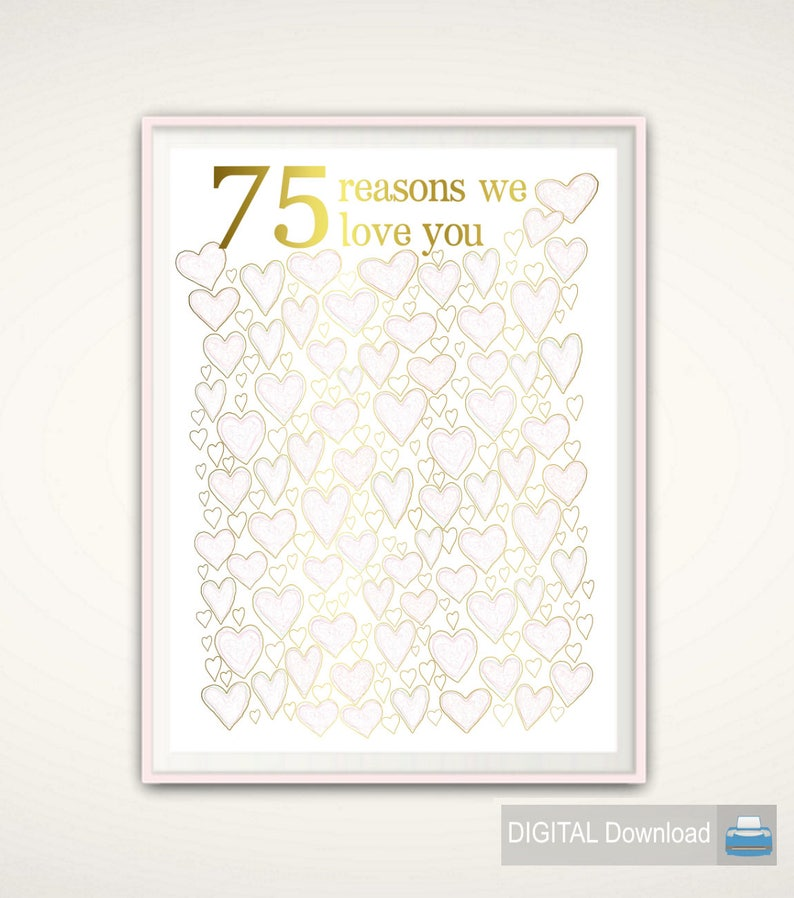 75th Birthday Poster Gift For Mom PRINTABLE