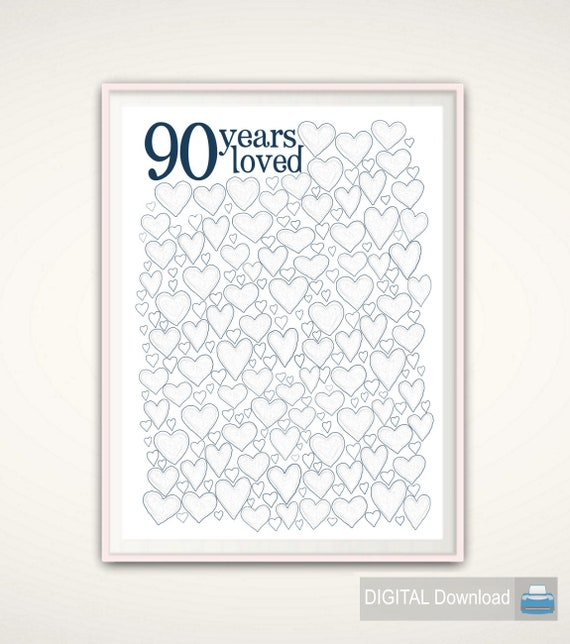 90th Birthday Gift For Men 90 Years Loved PRINTABLE Party