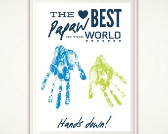 Gifts for Papaw - Fathers Day  Gifts for Papaw, Papaw Gifts, Personalized Present, PRINTABLE From Grandkids, DIY Handprint Art, DIGITAL