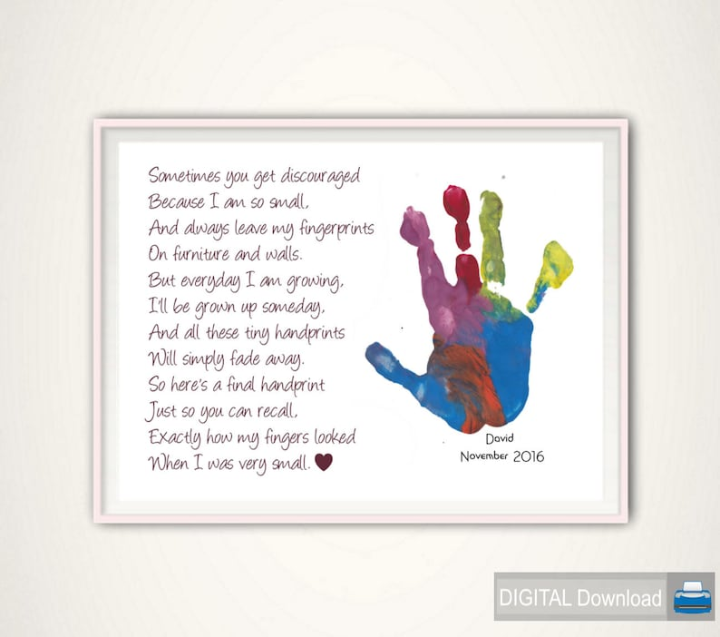 image regarding Sometimes You Get Discouraged Handprint Poem Printable named Handprint Artwork - Reward for Mom, Reward towards Young children, Presents for Mother, Reward In opposition to Grandkids, Customized, Do it yourself, PRINTABLE, Mother Presents, Xmas Present