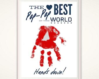 Gift for Pop Pop - Gifts for Pop Pop, PopPop Gifts, Personalized Present, PRINTABLE From Grandkids, DIY Handprint Art, DIGITAL