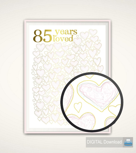 85th Birthday Gift 85 Years Loved For Mum PRINTABLE