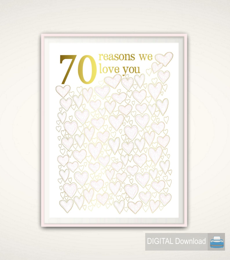 70th Birthday Gift For Mom PRINTABLE Gold And PINK