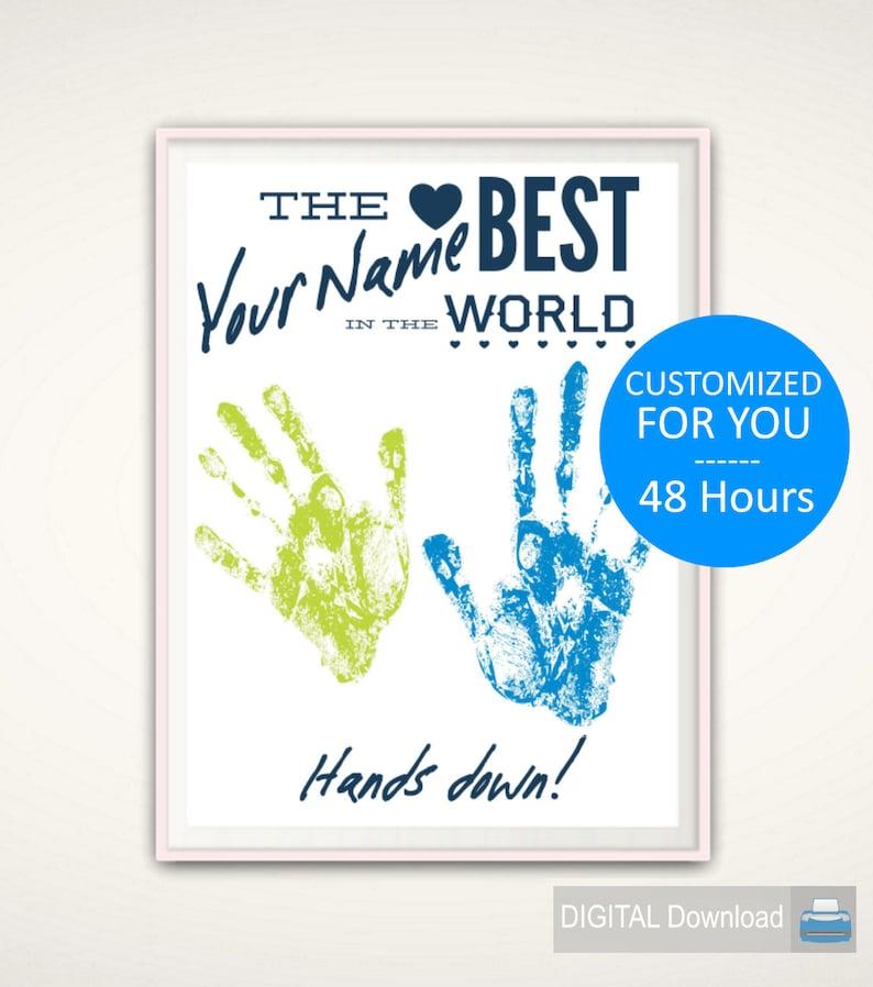 CUSTOM Handprint Art  Personalized Handprint Gift from Kids image 0