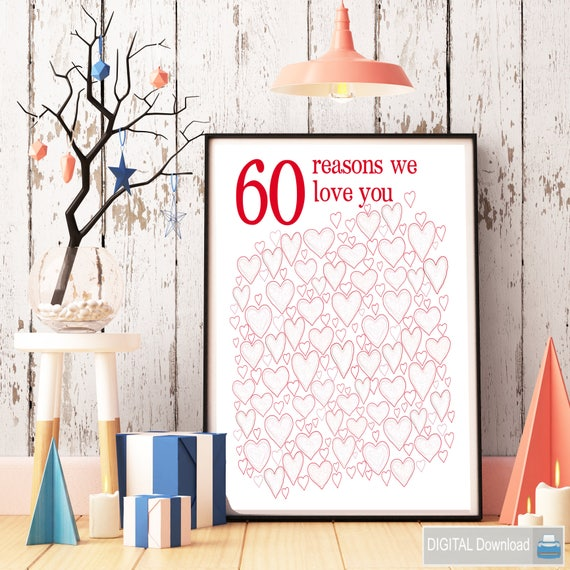 60th Birthday PRINTABLES Anniversary Gift Party