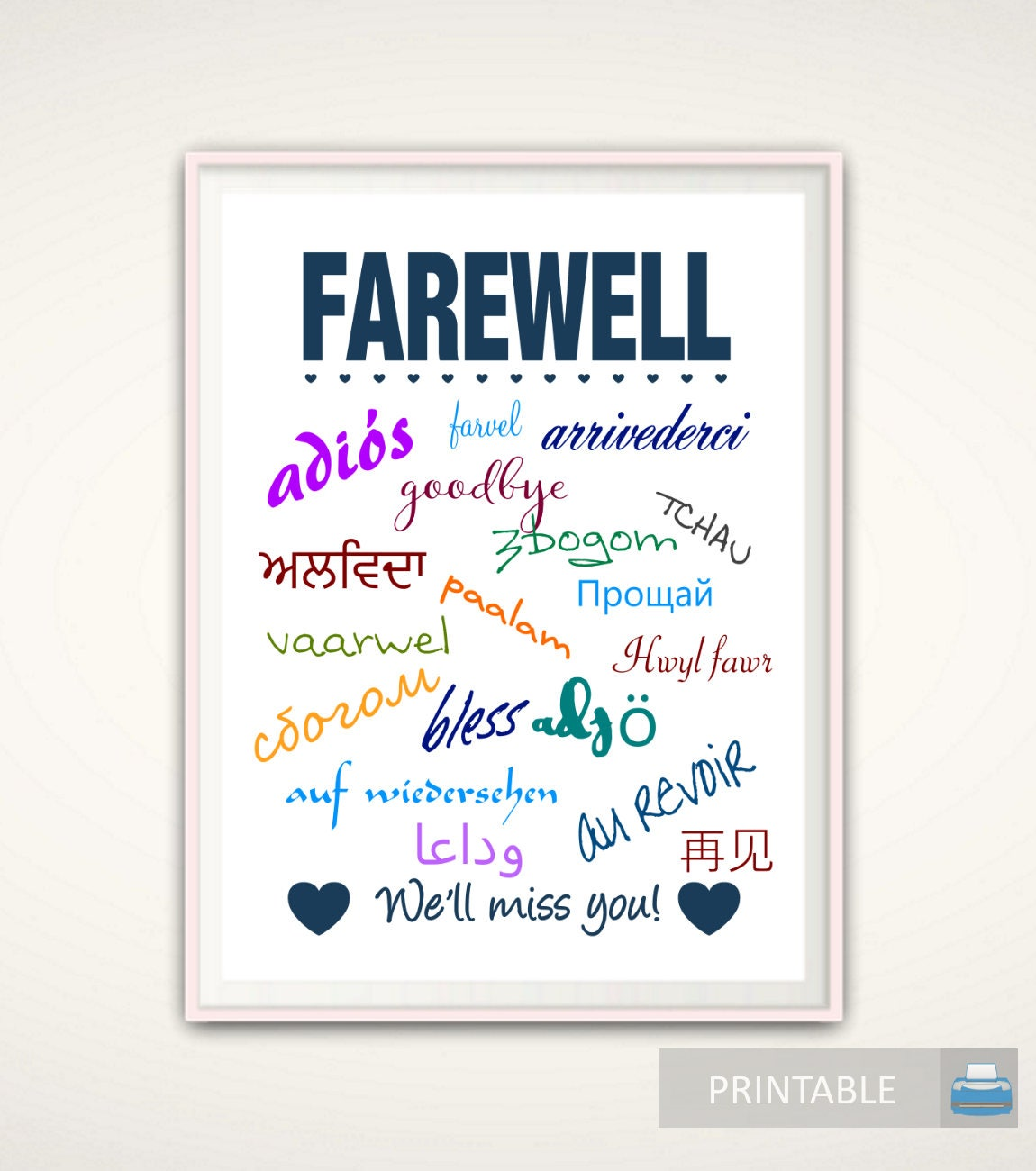 Goodbye Gift Going Away Gift Goodbye Print Farewell Print Etsy