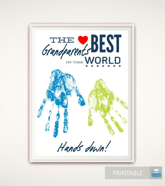 Gifts For Grandparents Personalized Grandparents Gift Christmas Gift From Grandkids Printable Diy Handprint Art From Baby
