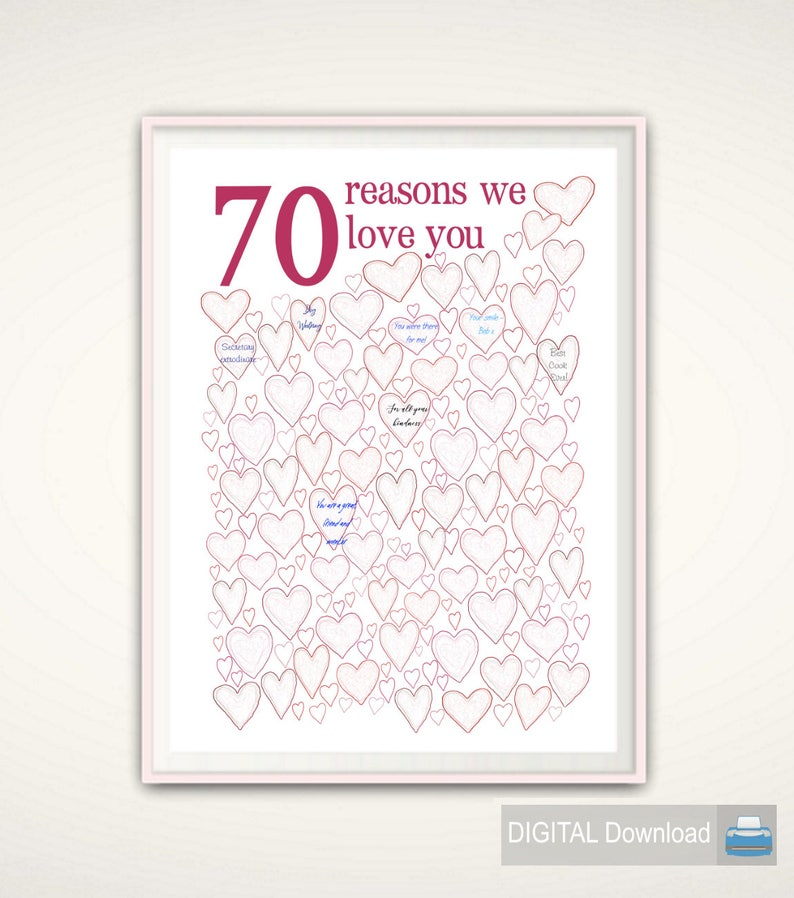 70th Birthday Gift For Mom Poster PRINTABLE